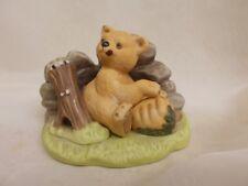 Franklin mint Porcelain 1984 Woodland Surprises Bear Figurine Jacqueline Smith