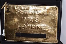 $1400 Chanel Gold Metallic Clutch Case FEMINISTE MAIS FEMININE BAG NEW