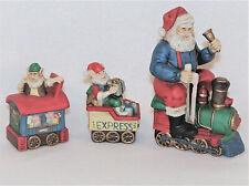 Santa & Elves Christmas Train Figurine Porcelain 3 Piece Mantel Set