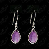 925 Sterling Silver Amethyst Teardrop Natural Stone Earrings Gemstones Tear Drop