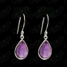 925 Sterling Silver Amethyst Teardrop Natural Stone Earrings Gemstones Tear Drop