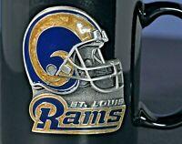 Rare Collectors St. Louis Rams Pewter Emblem Beverage Mug / Coffee Cup 11oz. Blk