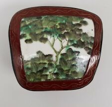 Vintage Chinese Lacquer Wood and Porcelain Box