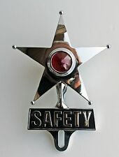 SAFETY STAR RED Chrome license topper NEW 12 Volt Deluxe Dress up item