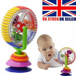 Baby Kids Rainbow Ferris Wheel Fun Rattle Clanking Suction High Chair Toys Gift