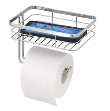 Wall Mount Toilet Tissue Paper Holder w/Shelf Hardware Included Chrome/Silver