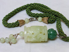 CHINESE VINTAGE CARVED GREEN JADE SILK KNOTTED NECKLACE PENDANT