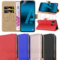 CASE FOR SAMSUNG GALAXY A40 REAL GENUINE LEATHER SHOCKPROOF WALLET FLIP COVER