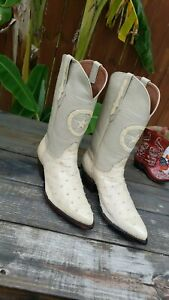 Black jack ostrich baige western cowboy boots