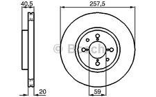 BOSCH Juego de 2 discos freno Antes 257mm ventilado FIAT PUNTO 0 986 478 515