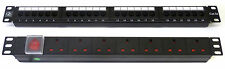"CAT5E 19 "" 24 porte Patch Panel + 8 VIE POTENZA Unità rack Comms rete dati Gabinetto"