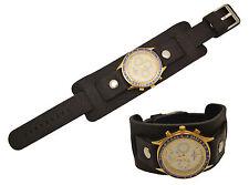 Bikers Black Wide Genuine Leather Watch Band strap Punk Rock Skaters cuff 20mm