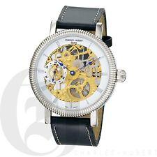 Charles-Hubert Mens Mechanical 17 Jewels Wrist Watch Leather Skeleton 3737-G