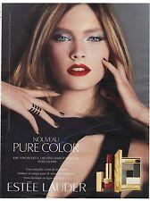 PUBLICITE ADVERTISING 2011  ESTEE LAUDER ombres et rouges à lèvres pure color