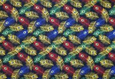 Yellow, Blue, and Green Royal Peacock Feathers Cotton Quilt Fabric 1/2 Yard