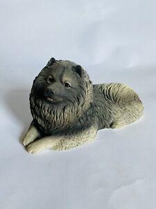 "1988 Original Sandicast Keeshond Dog Sculpture Sandra Brue 10"" Long GUC #134"