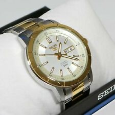 Seiko 5 Day Date Two Tone Automatic White Dial Men's Watch SNKN58K1