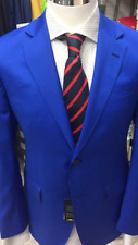 Royal blue super 150 wool suit with notch lapel made in Italy