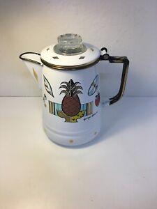 MCM Georges Briard Coffee Pot Percolator Enamel Pineapple