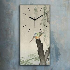 Wandbild Leinwand Bilder mit Uhr 30x60 Gemälde Asiatische Tier Vögel Eisvogel