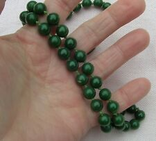 Vintage Antique Art Deco Jade Bead Strand Sterling Silver Necklace 8mm 190 Carat