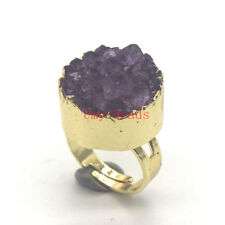 Natural Amethyst Quartz Crystal Vug Druse Round Adjustable Gemstone Finger Ring