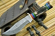 Custom Damascus Steel Hunting Knife Handmade With Stag Horn Handle (Z246)