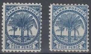 SAMOA 1895 4d. BLUE PALM TREE (x2) (ID:237/D59062)
