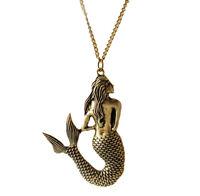 Vintage Bronze Schmuck Halskette Meerjungfrau Anhänger Kette xj