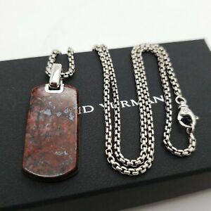 David Yurman Sterling Silver Exotic Stone Red Jasper Tag Pendant Pouch & Box