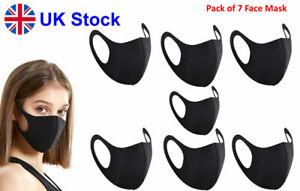 7 Face Mask Washable Reusable Breathable Black Unisex Germ protective UK Seller