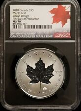 2018 Canada Silver Maple Leaf Coin Incuse Design 30th Anniversary FDOP NGC MS70
