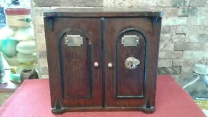 Antique Oak Arts Deco Smokers Cabinet stationary , strong box    Vgc