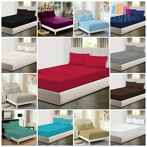 Luxury 100% Poly Cotton Deep Fitted Sheet For Mattress All Sizes - 2 Pillow Case