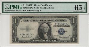 1935 F $1 SILVER CERTIFICATE FR.1615 PMG CERTIFIED GEM UNCIRCULATED 65 EPQ