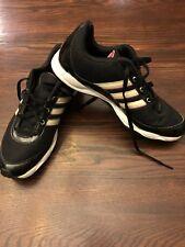 Womens Adidas Shoes Black Size 10 Tan Stripes Pink