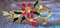Vintage CHRISTMAS Holiday BROOCH Pin Enamel Gold Tone Jewelry