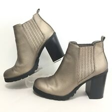 SAM & LIBBY DEANNA WOMENS Sz 8.5 METALLIC COLOR ANKLE BOOTS CHUNKY HEEL PULL ON