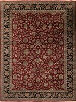 Agra Oriental Area Rug Hand-Knotted Wool All Over Floral Carpet 9 x 12 Burgundy