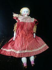 "Antique Porcelain Head Doll 24"" China 1860s Original Dress Sailor Aesthetic"