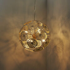 Endon Nuphar Pendant Ceiling Light Antique Brass Floral Pattern 6x40W E14 Candle