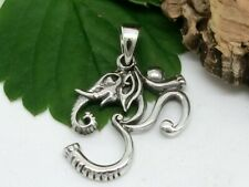 Om Elephant Necklace Pendant 925 Sterling Silver Buddhism Mantra