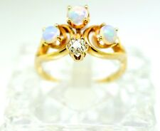Vintage 14k Gold, Opal, And Diamond Ring. Size 6.25