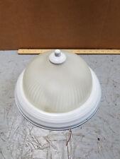 2-Light Flush Mount Ceiling Fixture White Round Glass Dome Shade Kit