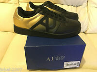 GIORGIO ARMANI JEANS TRAINERS BLACK GOLD SIZES UK 9 & 9.5 NEW