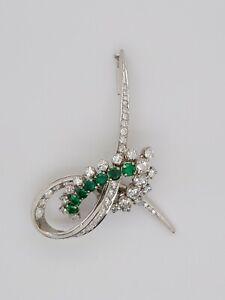 18K White Gold Natural Brilliant Sparkling Diamond & Emerald Wrap Around Pin