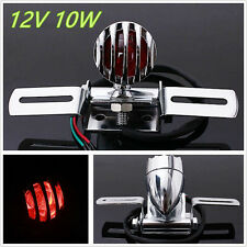 Silver Motorcycle Motorbike License Plate Grille Rear Tail Stop Brake Light 12V