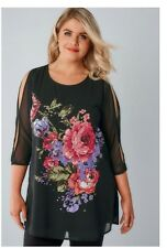 YOURS CLOTHING Black Floral Print Woven Top With Diamante DetailSIZE: 16 UK