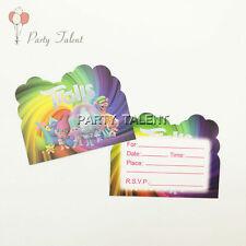 12pcs Trolls Theme Invitation Card Invitations For Kids Birthday Party Decor