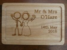 Personalised Wedding Choppping Board : Engraved Unique Bride & Groom wooden Gift